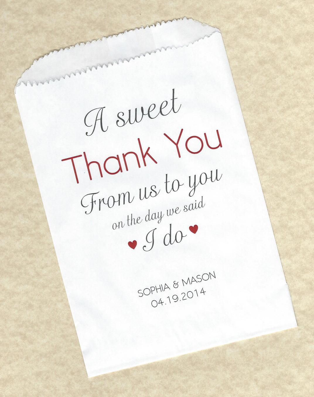 50 Sweet Thank You Wedding Personalized Candy Buffet Party Favor Bags Paper